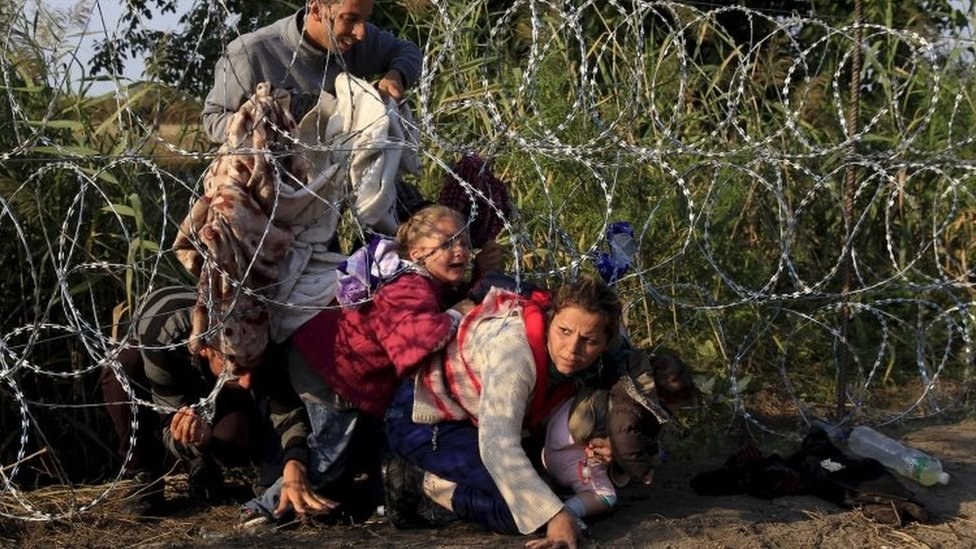 Syrian migrants cross under a razor-wire fence into Hungary at the border with Serbia, near Roszke. Photo: August 2015