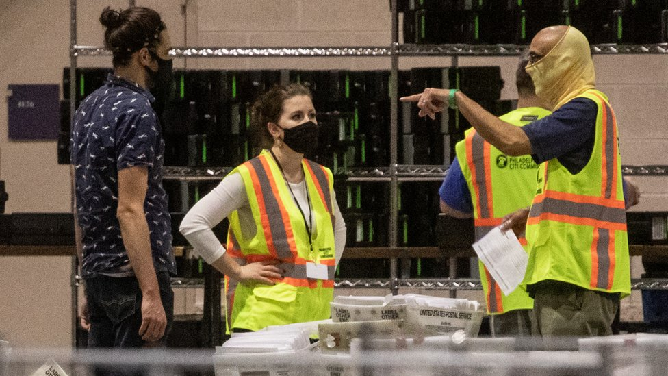 Workers at the election count in Philadelphia