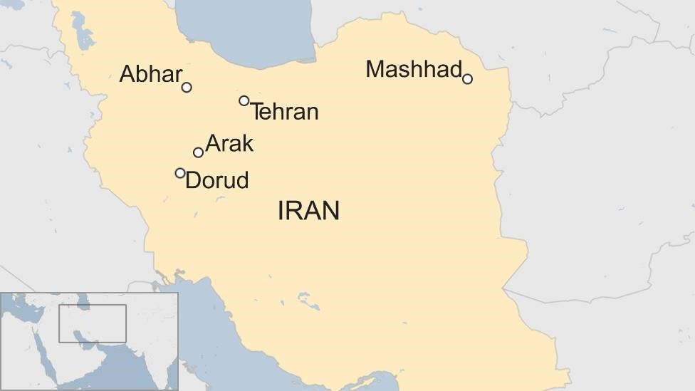 Map of Iran showing cities where protests are occurring