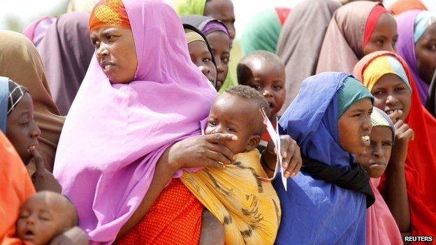 Somali refugees at camp near Somali-Kenyan border