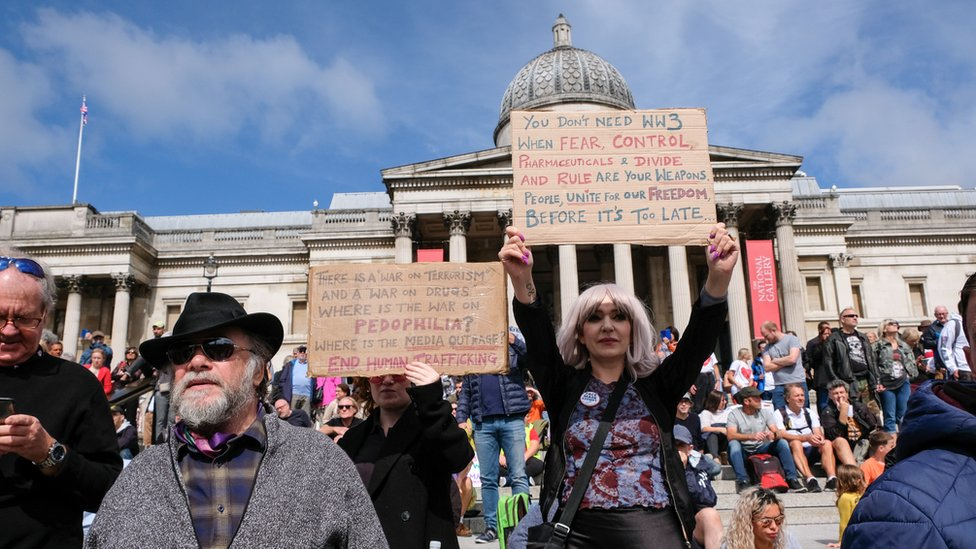 Protesters gathered in London on Saturday to hear about a range of coronavirus-related conspiracy theories