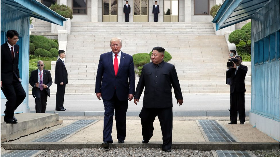 North Korean leader Kim Jong Un and U.S. President Donald Trump inside the demilitarized zone (DMZ) separating the South and North Korea on June 30, 2019 in Panmunjom, South Korea