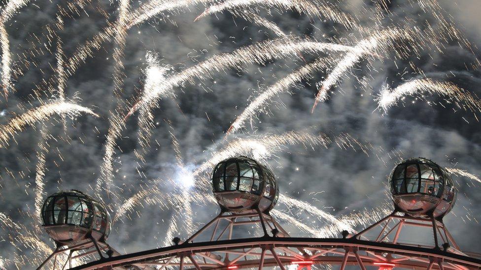 Fireworks next to the London Eye