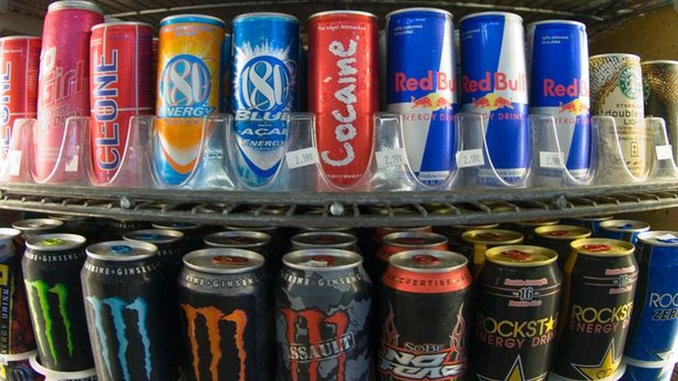 Energy drinks on a shelf