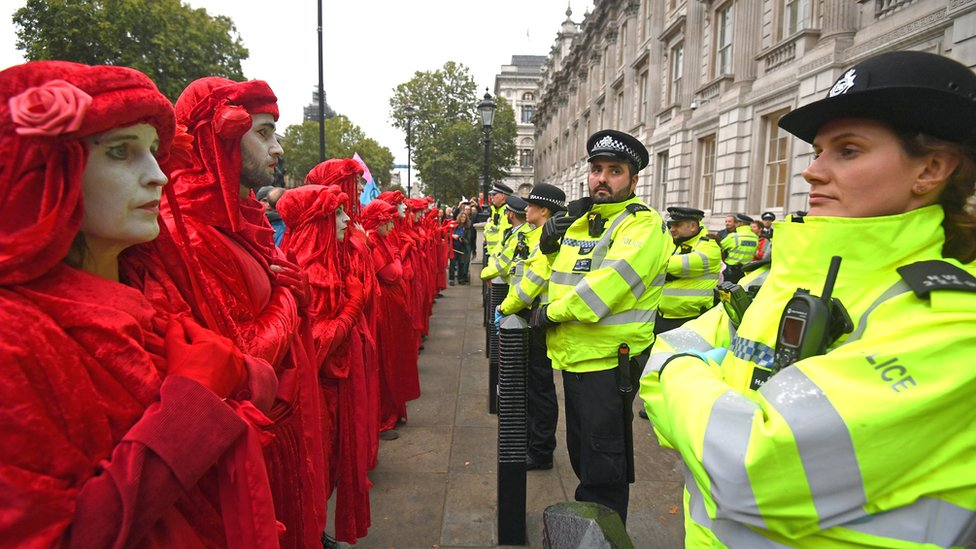 Activists protesting outside the Cabinet Office