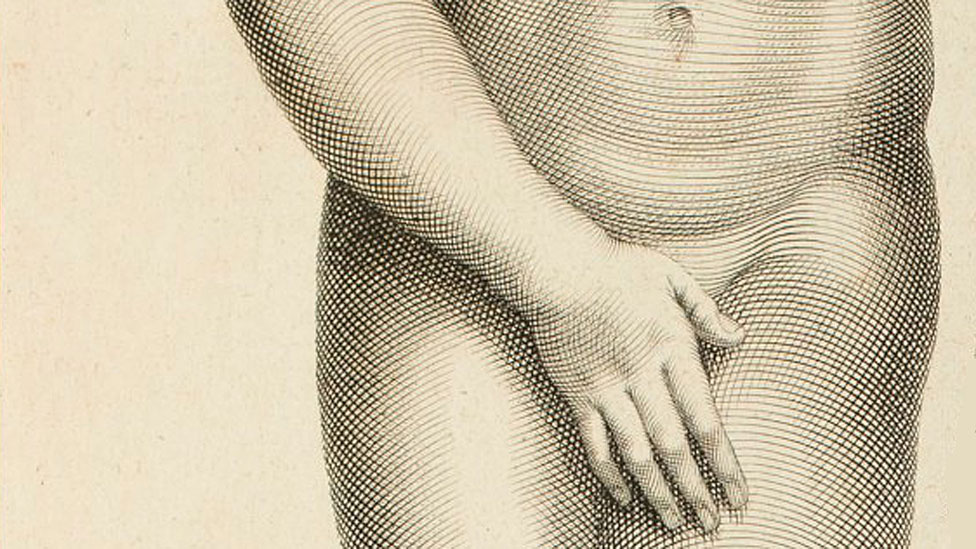 Detalle de grabado de Afrodita de Cnidos de Claude Randon (1674 - 1704)