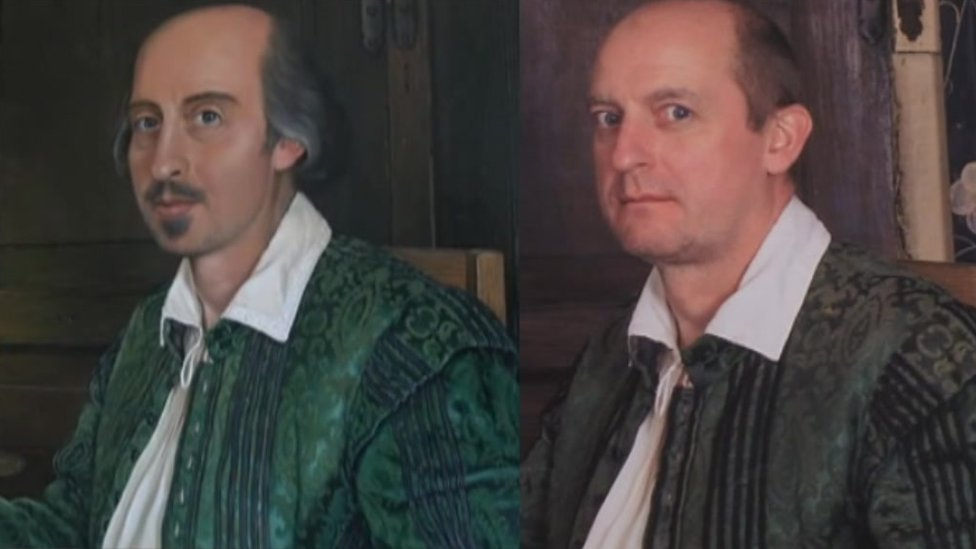 William Shakespeare on the left and his body double Simon Millichip