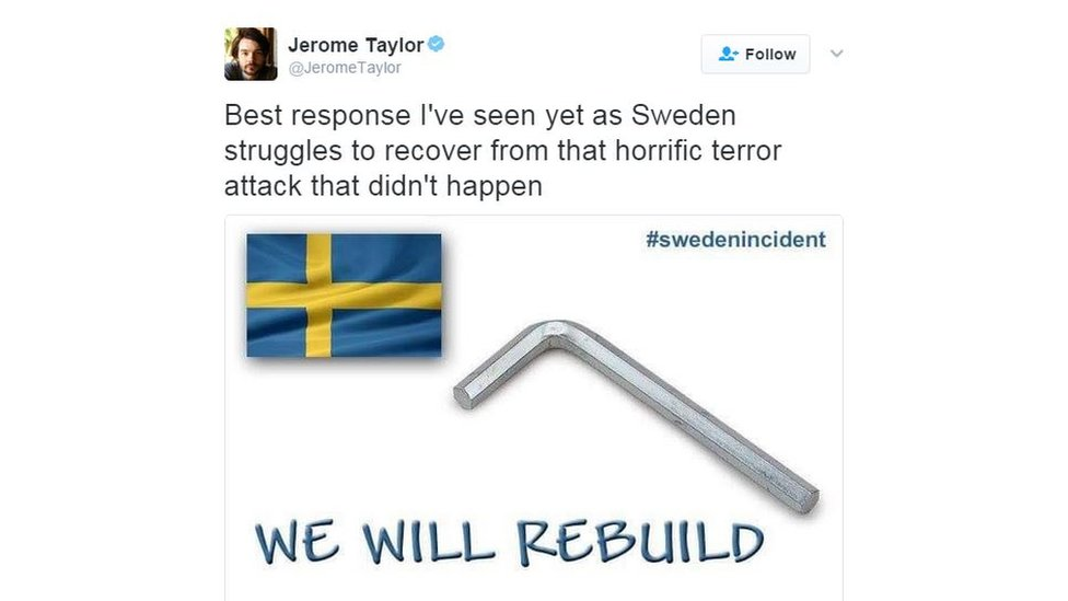 A meme about rebuilding Sweden with Ikea tools