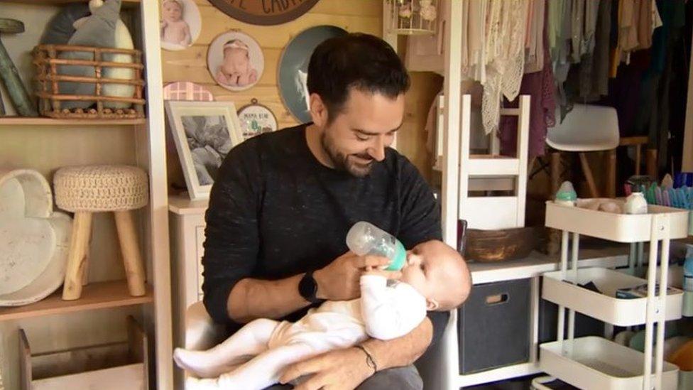 Leigh Harris feeding baby Indy