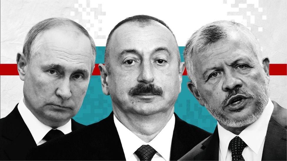 فلاديمير بوتين ، إلهام علييف ، ملك الأردن