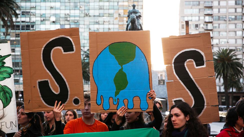 Protestas en Montevideo en septiembre exigiendo acciones contra el cambio climático
