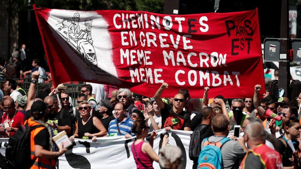 احتجاجات فرنسيين على غصلاحات العمل التي يقترحها ماكرون