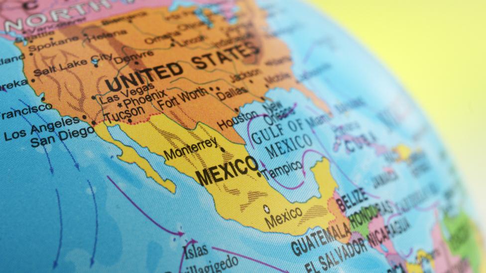 Ilustración de un mapa donde aparecen Estados Unidos y México.