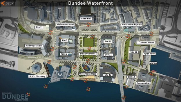 Dundee Waterfront view on app