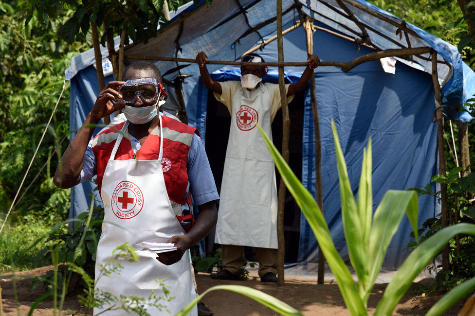 Medical staff on the Ugandan border