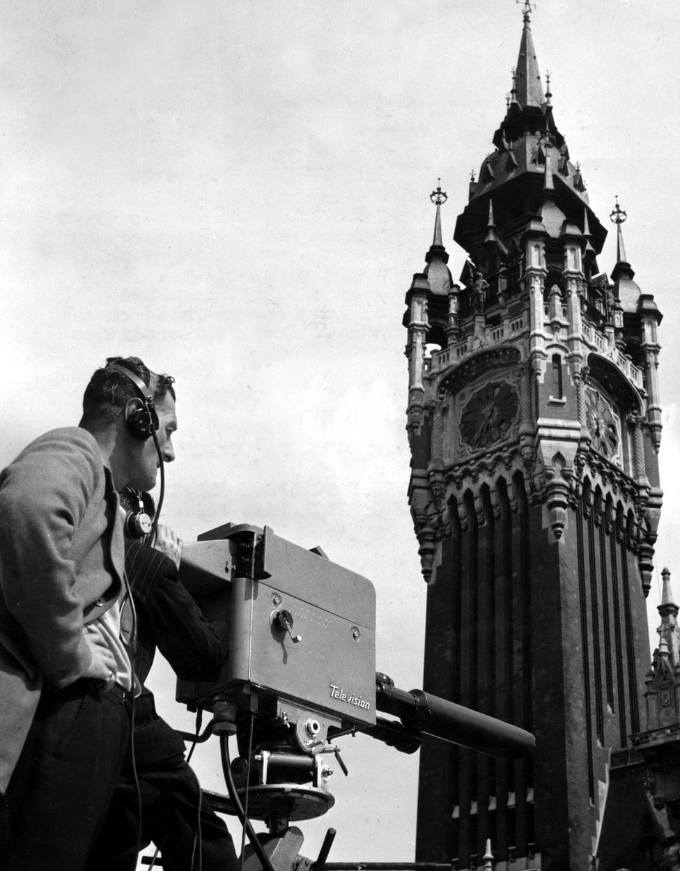Television Camera facing the Clock Tower of the Hotel de Ville, Calais. Richard Dimbleby and Alan Adair gave commentaries on the festivities and interviewed local personalities in the front of the cameras, August 1950.