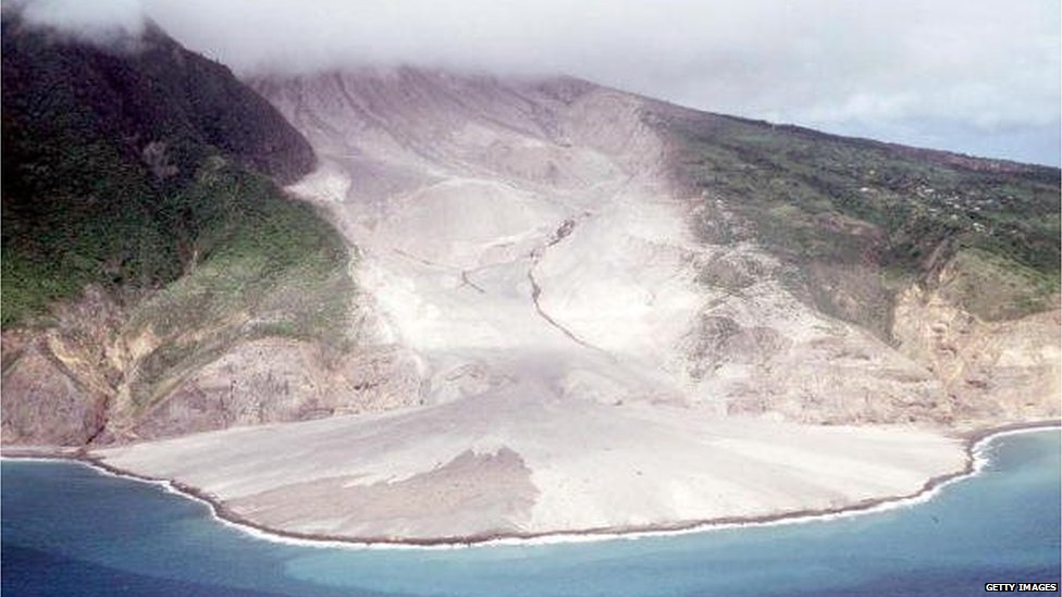 View of a lava flow after a blast from the Soufriere volcano on 20 August 1997