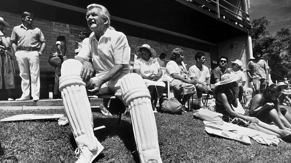 Bob Hawke at a cricket game