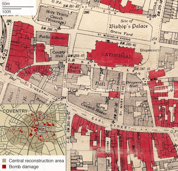 Close-up of map showing damaged buildings in central Coventry