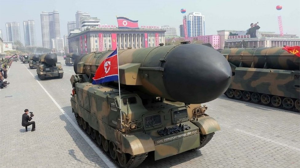 Missiles on show in North Korean military parade (16 April 2017)