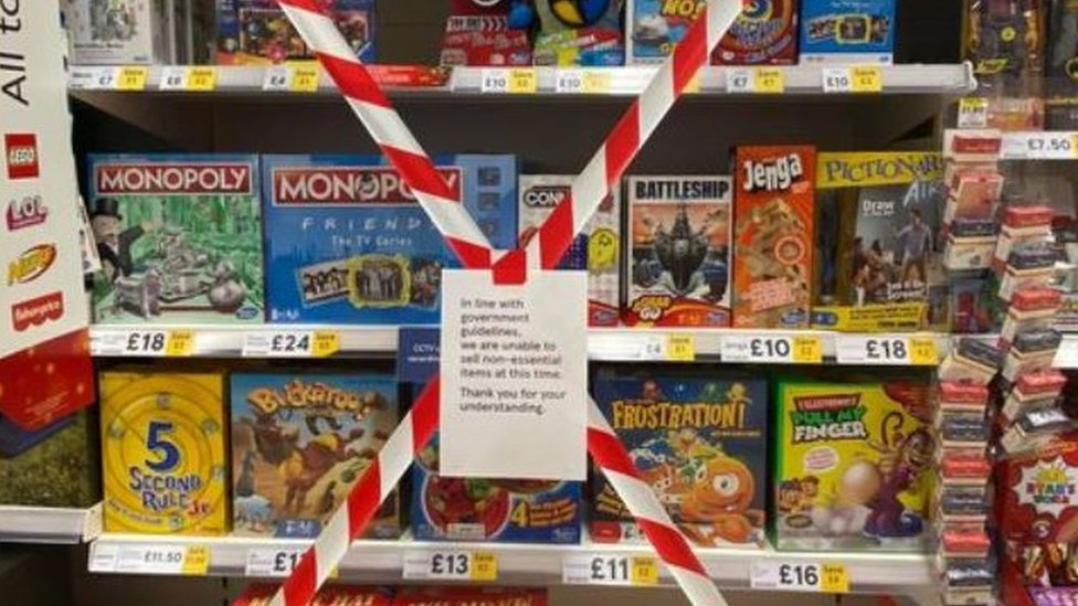 Toys on a shelf cordoned off