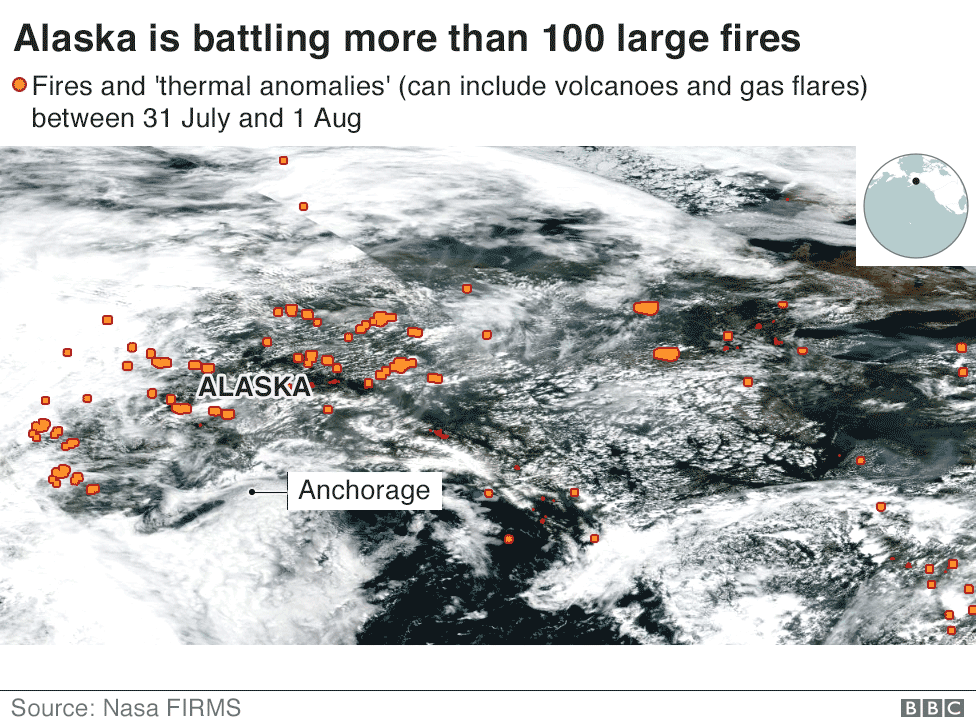 Satellite image showing wildfires in Alaska