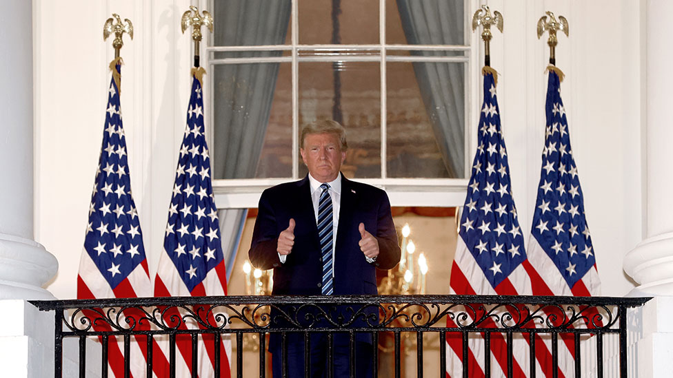President Trump on the White House balcony