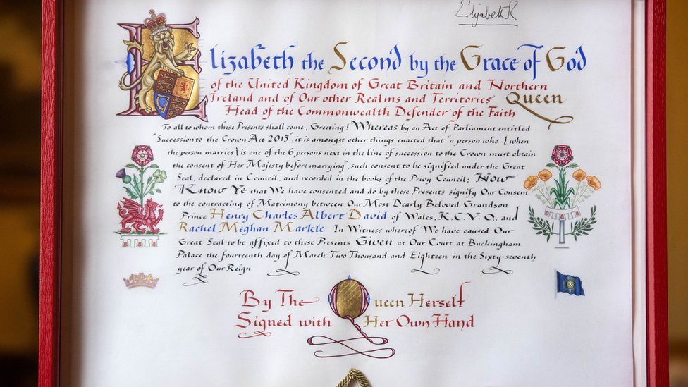 Prince Harry and Meghan Markle's Instrument of Consent