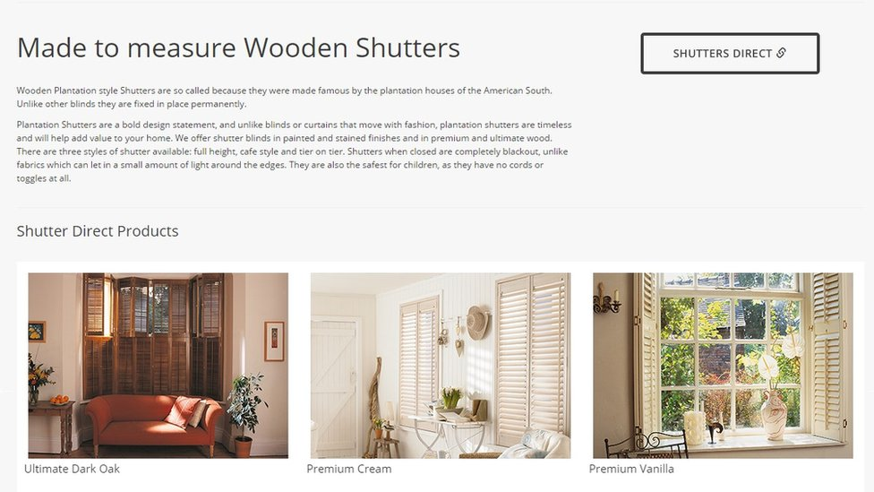 Screengrab from Shutters Direct website