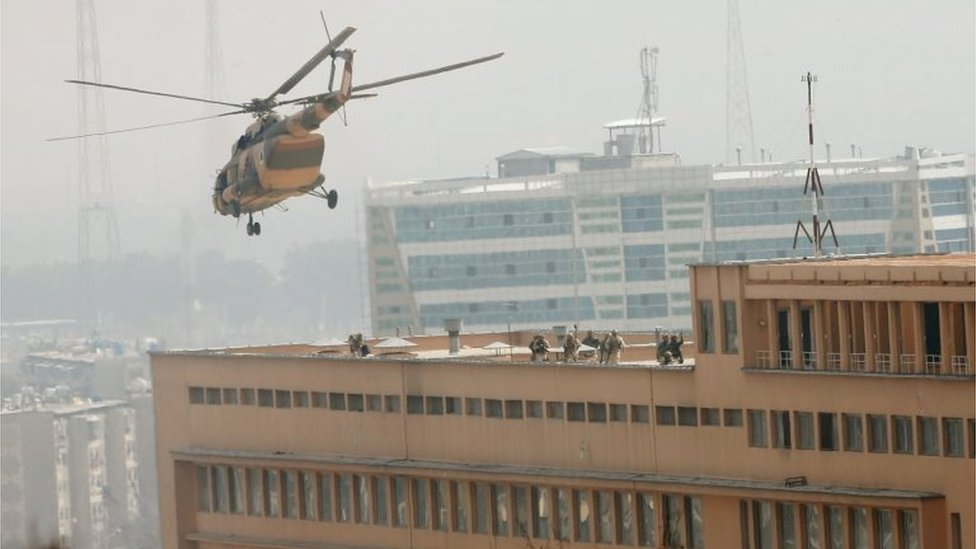 Afghan National Army (ANA) soldiers descend from helicopter on a roof of a military hospital during gunfire and blast in Kabul, Afghanistan March 8, 2017