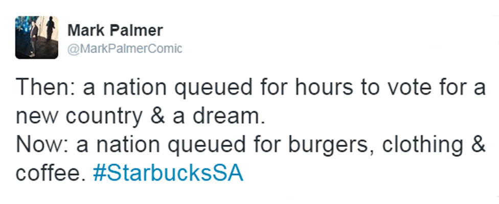 """Mark Palmer's tweet: """"Then: a nation queued for hours to vote for a new country & a dream. Now: a nation queued for burgers, clothing & coffee. #StarbucksSA"""""""