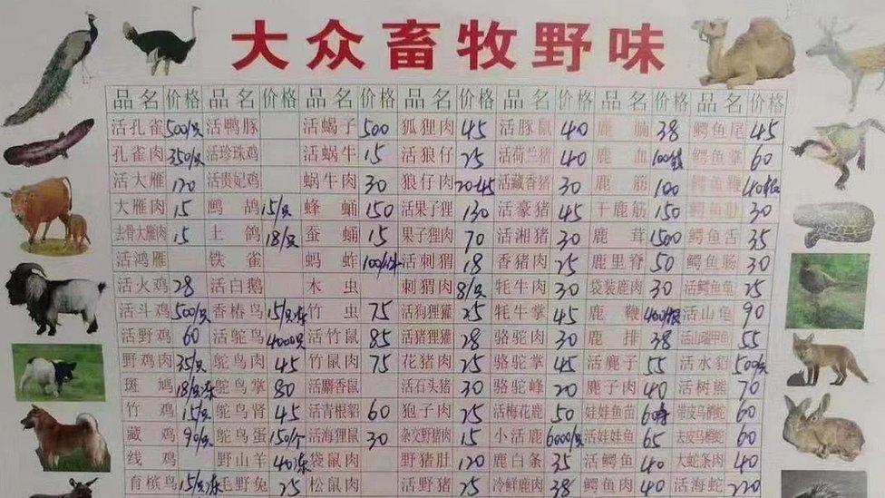 Menú de un restaurante de carne salvaje en el mercado de mariscos Wuhan Huanan, donde se vendían animales silvestres.