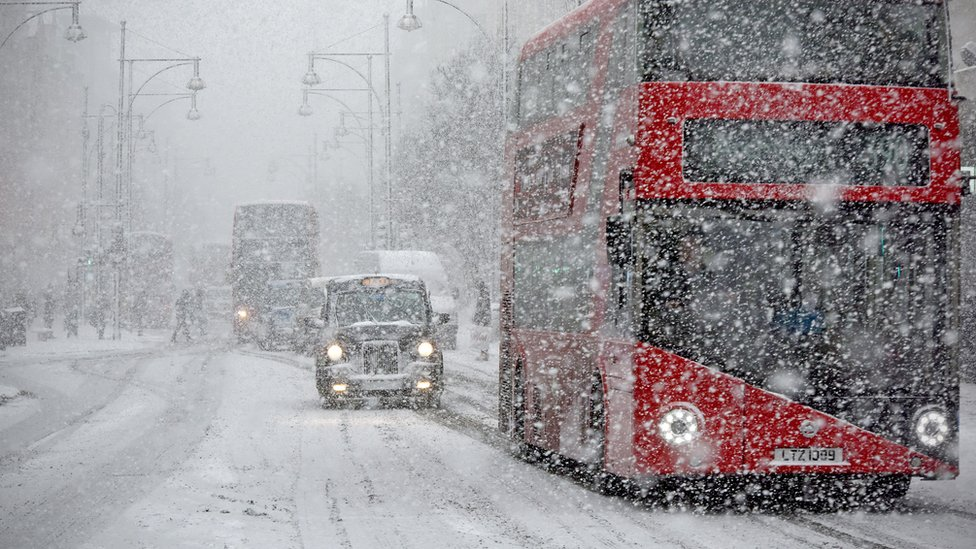 Snow on Oxford Street, London
