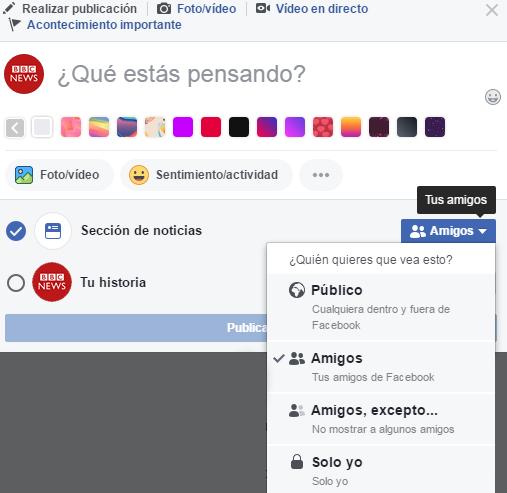 Opciones privacidad de Facebook