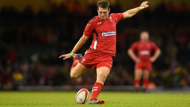 Dan Biggar taking a penalty for Wales