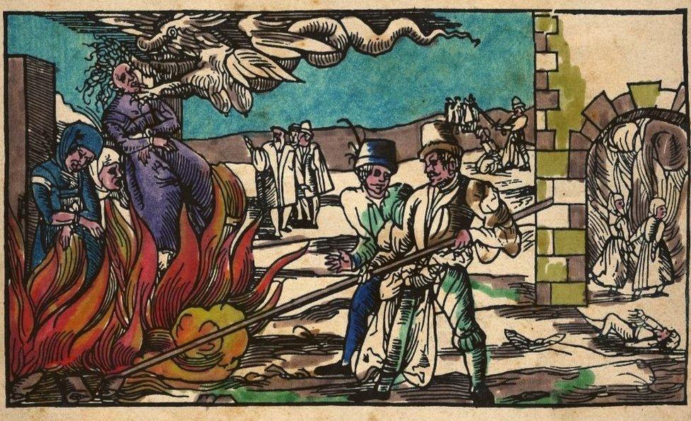 Ilustración de una bruja ardiendo en Alemania