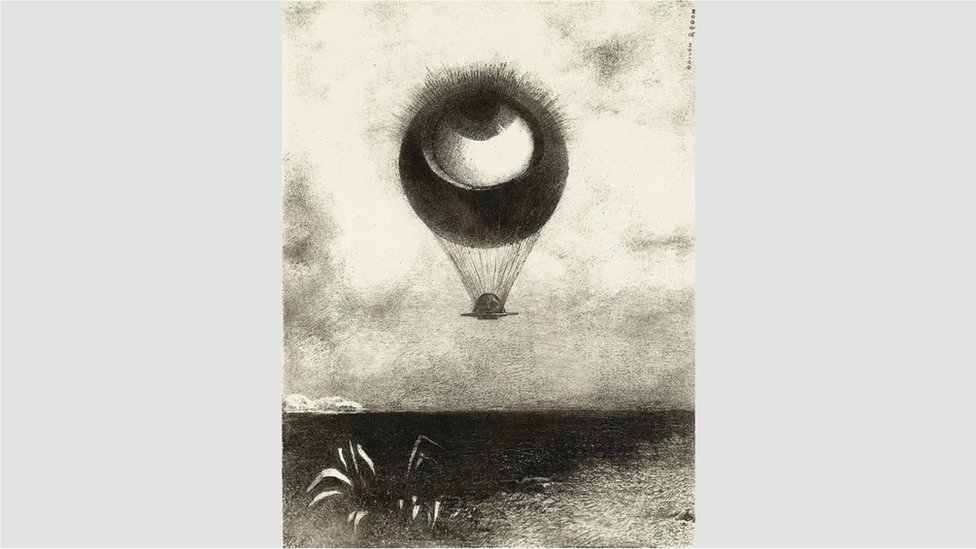 """Oko, kao čudan balon, penje se ka beskonačnosti""(1882) Redona izvršila je veliki uticaj na nadrealiste"