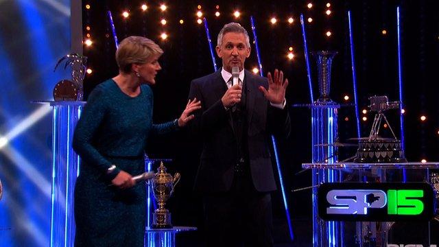 Gary Lineker cuts hand on SPOTY trophy