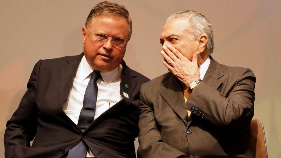 Brazil's then interim President Michel Temer (R) talks to his Agriculture Minister Blairo Maggi during a Global Agribusiness Forum in Sao Paulo, Brazil July 4 2016