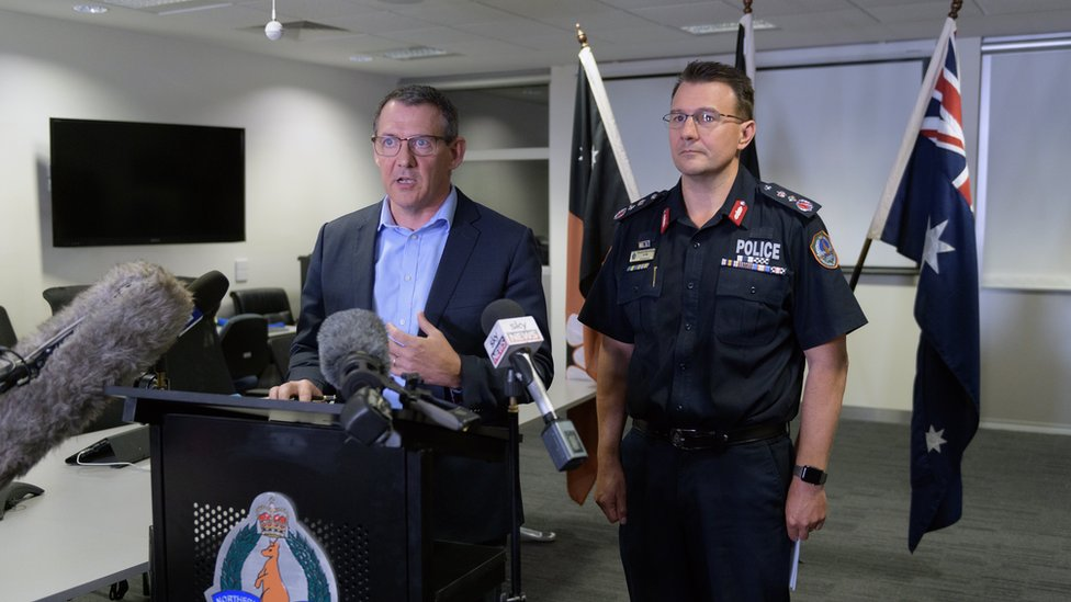 Northern Territory Chief Minister Michael Gunner and Police Commissioner Reece Kershaw giving a press conference to journalists