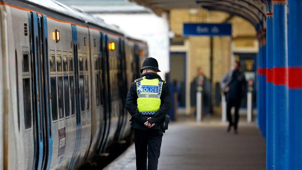 A BTP officer patrols the platform at King's Lynn railway station in Norfolk