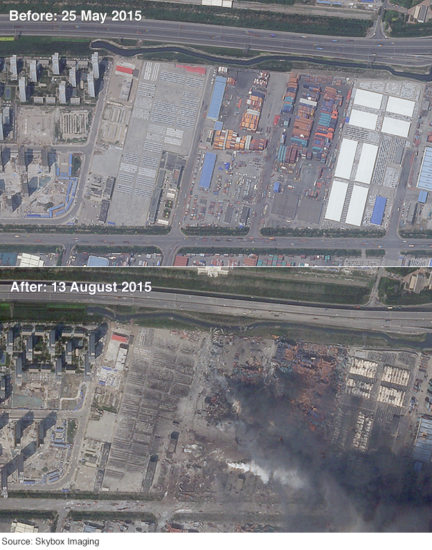 Two satellite images showing the Tianjin area before and after the explosions on 12 August 2015