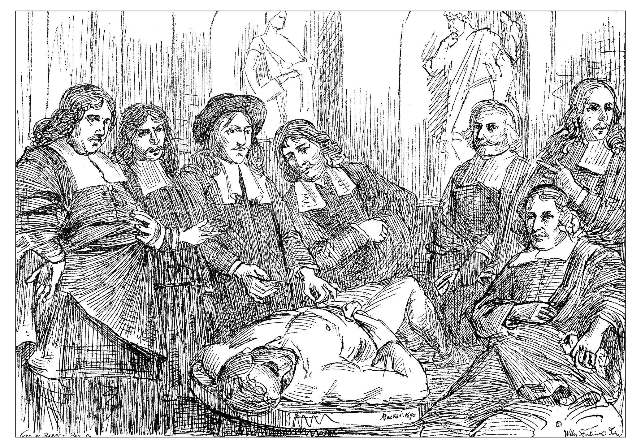 """Dibujo de Steenlink es una reproducción del cuadro del pintor holandés del siglo XVII Adriaen Backer llamada: """"Lección de Anatomía del Dr. Frederik Ruysch""""."""