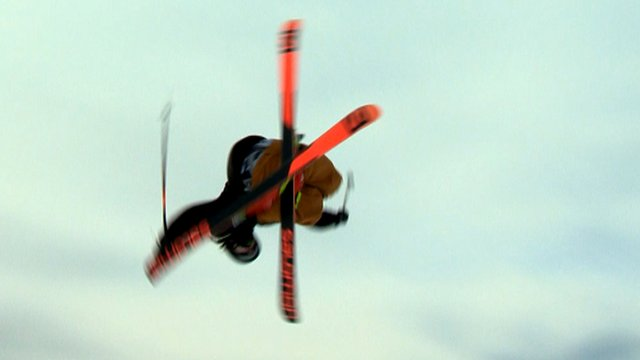 Freestyle skier James Woods in action at the World Cup event in Cardrona