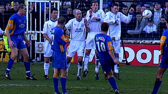 Wayne Rooney is part of the wall as Nigel Jemson scores a free-kick for Shrewsbury against Everton in the FA Cup in 2003