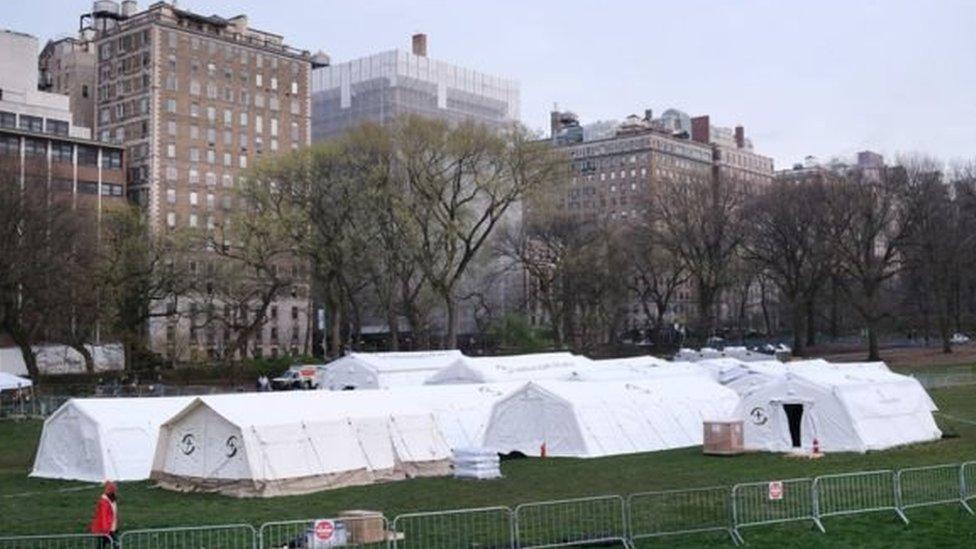 Rumah sakit darurat di Central Park, New York.