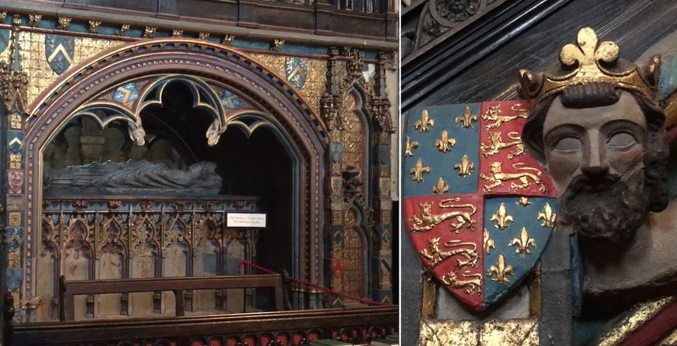 Bishop Hatfield's tomb and the face and crest of King Edward III