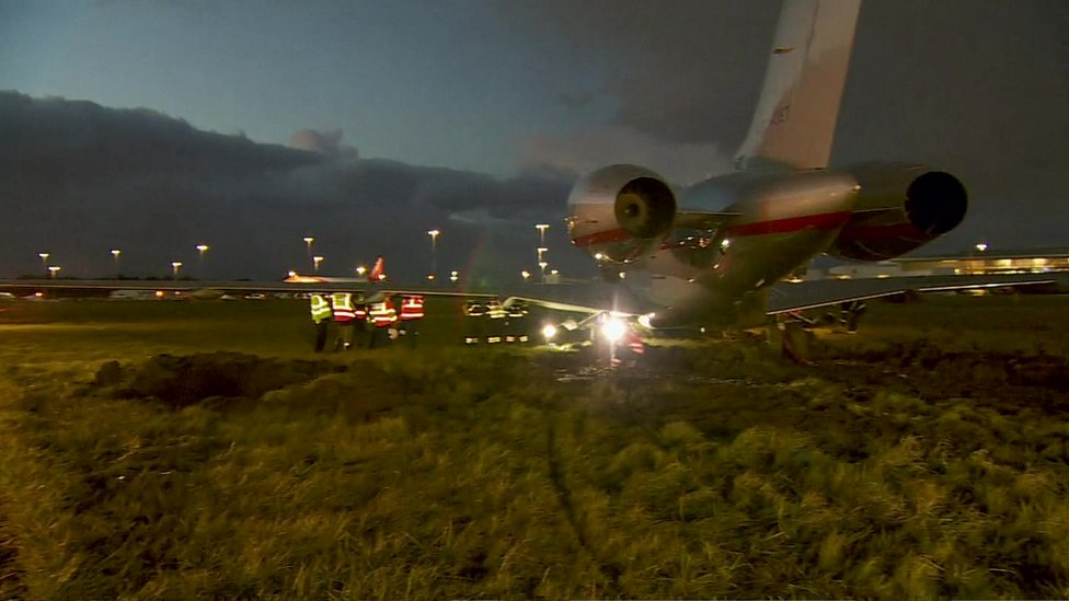 Private plane skidded off the runway