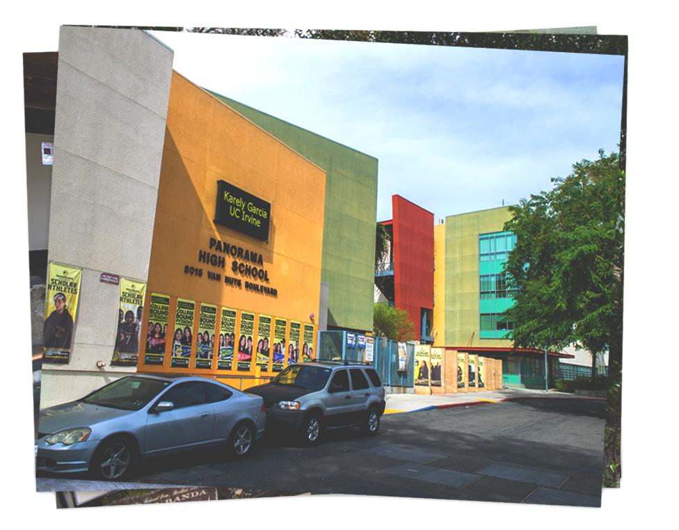 La fachada de la escuela secundaria Panorama High School, donde estudiaba Brayan Andino y varios de los señalados por su muerte.
