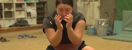 Hiyori Kon one of the top female sumo wrestlers in Japan in the ring.